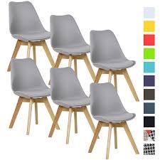 Details Zu Esszimmerstühle 6 X Esszimmerstuhl Design Stuhl Küchenstuhl Holz Grau Bh29gr 6
