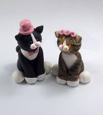Tuxedo Cat and Tabby Cat Wedding Cake Topper by