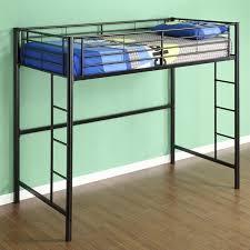 walker edison sunset metal twin loft bunk bed in black