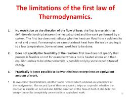 the limitations of the first law of thermodynamics