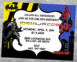Font tips in making tarpaulin for birthday. Batman Spider Man Birthday Invitation Personalized Custom You Print Multi Child Ebay