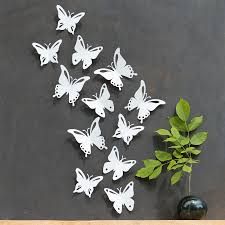 3d Butterfly Wall Decor White Butterfly Wall Decor 3d Set Of 12 Popart Made In