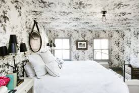 black and white wallpaper on ceiling in brooklyn town house