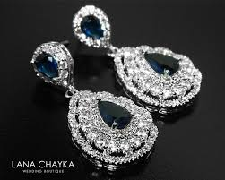 navy blue cz bridal earrings teardrop blue crystal wedding earrings sapphire chandelier earrings sparkly crystal earrings prom jewelry 36 90 usd