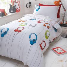 Kids Bedroom Bedding Kids White Headphones Reversible Duvet Cover And Pillow Case