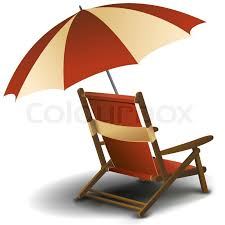 Illustration of beach chair on white background Stock Vector