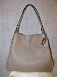 NWT Coach Phoebe Shoulder Bag in Suede   Pebble Leather with Exotic Python  Trim