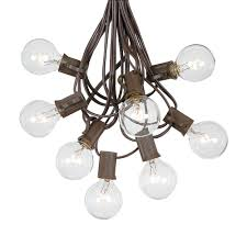 100 G40 Globe String Light Set With Clear Bulbs On Brown Wire