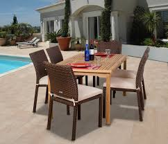 luxemburg 7 piece teak wicker dining set outdoor patio classic design modern design style synthetic durable