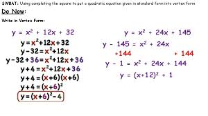 swbat using completing the square to put a