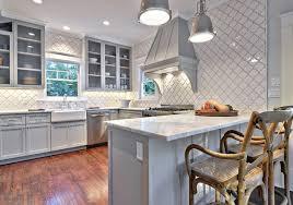Light Gray Kitchen Cabinets & White Backsplash Tiles