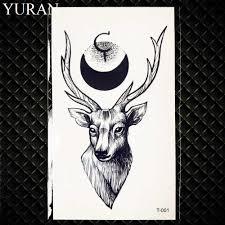 очарование черный луна временные карандаш для татуировки эскизы браслет олень