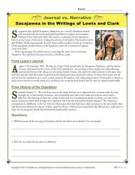 journal vs narrative activity sacajawea by lewis and clark narrative sacajawea in the writings of lewis and clark