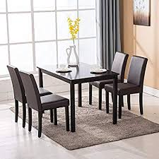 mecor 5 piece dining table set wood table 4 leather chairs kitchen room breakfast furniture