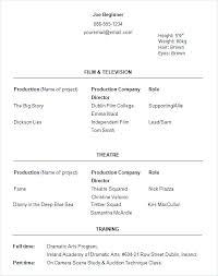Dance Resume Classy Dance Resume Template Sample Dance Resume For Audition Beginner