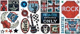 boys rock and roll wall appliques