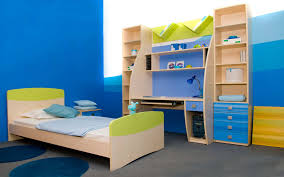 cheap kids bedroom ideas: bedroom beautiful blue white wood cool design top kids room ideas best bedroom blue sea wall paint wood bed white mattres cushion cabinet desk blue round