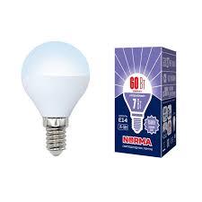 лампочка светодиодная volpe norma шар ul 00003818 дневной белый свет led g45 7w dw e14 fr nr 6500k