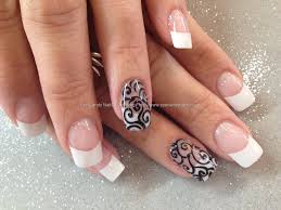 Eye Candy Nails & Training - White acrylic tips with black ...