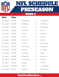 week schedule print out printable 2018 nfl preseason schedule