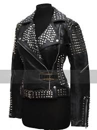 britney spears till the world ends studded real black leather jacket for women