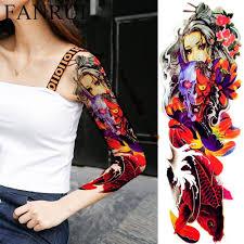 долговечные японские гейши с капюшоном с акварельной татуировкой Fish Arm временные