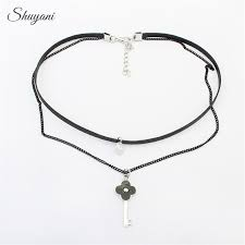shuyani key flower pendant long necklace collar retro gothic hollow black lace chokers statement necklace for women jewelry