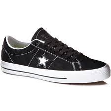 converse 1. converse one star skate suede shoes - black/white/black 6.0 1