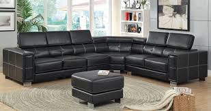 awesome black leather sectional with ottoman modern black leather sectional