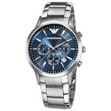emporio armani ar2448 stainless steel blue dial chronograph watch emporio armani ar2448