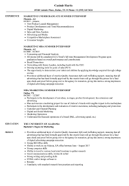 Summer Internship Resume Examples Marketing Summer Internship Resume Samples Velvet Jobs