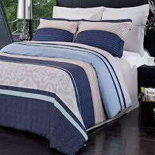 com 3pc modern contemporary navy blue mens boys bedding duvet cover set full queen home kitchen