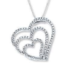 diamond heart necklace 1 2 ct tw round cut 14k white gold tap to expand large view