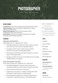 Sample Sports Resume Photographer Resume Sample Writing Tips Resume Genius