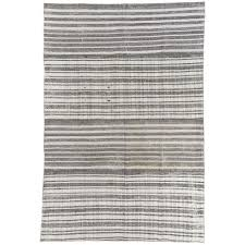 striped ivory and gray anatolian kilim vintage flat weave rug for
