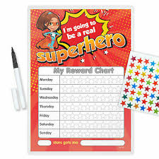 Magnetic Superhero Girl Behaviour Reward Chart Free Pen