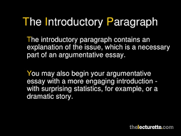 argumentative essays 8 the introductory paragraphthe introductory paragraph
