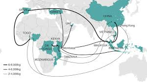 the war on elephants bbc news observed trade routes for large scale seizures of ivory 2012 13 source etis 2013