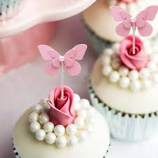 5 Pcslot Pink Flying Butterfly Cake Topper Birthday Cake Decoration