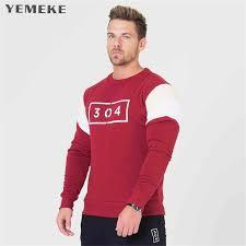 <b>YEMEKE Mens</b> Fitness Long Sleeves <b>T Shirt Men</b> Bodybuilding Skin ...