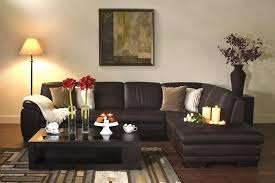 living room decor with sectional. Captivating Decorating Ideas Dark Brown Leather Sectional . Living Room Decor With E