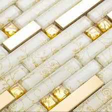ssg50gwrsi gold stainless steel tiles and crystal backsplash white glass mosaic tile shower bathroom wall decor
