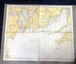 Vintage 1950s Nautical Chart Mass Marthas Vineyard To Block