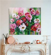 flower paintings handmade order palette knife painting on canvas abstract flower painting peonies
