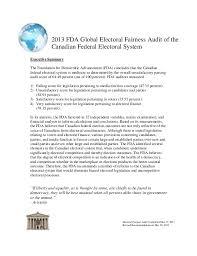 fda global electoral fairness audit report 2013 fda global electoral fairness audit of thecanadian federal electoral systemelectoral fairness audit completed 27