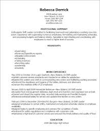 Shift Leader Resume Example Restaurant Bar Sample Resumes for