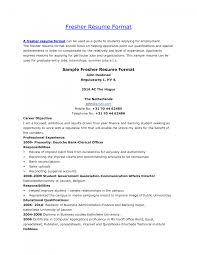 Cover Letter Fresher Resumes Format Fresher Resume Format Doc
