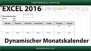 Excel Kalender Dynamischen Monatskalender Erstellen Download Excel Youtube