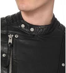 coats jackets allsaints jasper leather biker jacket black allsaints men clothing