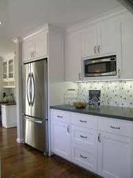 counter depth refrigerator in kitchen. ge counter depth refrigerator inspiration for a transitional galley kitchen remodel in san francisco